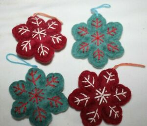 Fabric Felt Blue and Red SNOWFLAKE Christmas Ornaments Set of 4