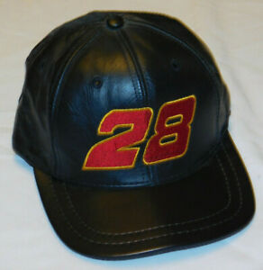 VINTAGE NASCAR # 28 ERNIE ERVIN LEATHER SNAPBACK HAT USA