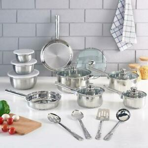 Cookware Set Stainless Steel Kitchen Tools Pots Pans Bowls 10 18 52 Pieces NEW $28.90