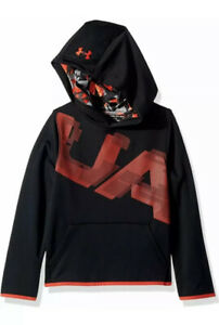 NWT UA UNDER ARMOUR Boys Armour Fleece® Printed Hoodie BLACK YLG 1318228 $40 $24.98