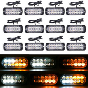 12x Amber White Car 12 LED Emergency Warning Flash Strobe Light Kit Bar Truck