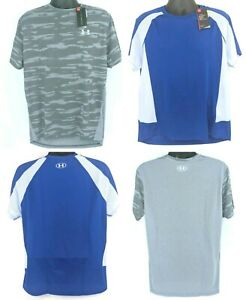 NEW Lot of 2 Under Armour Mens Size XL Fitted HeatGear Blue Short Sleeve Shirts $28.11
