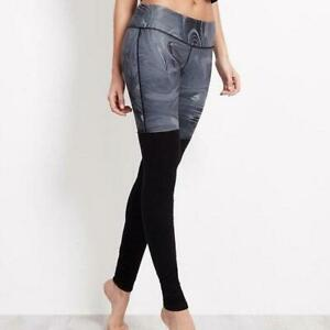 *ALO* $110 Goddess legging Pant Ruched Yoga Small S Gray Marble Swirl ribbed VGC