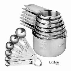 11 Piece Measuring Set Stainless Steel Stack able 6 Measuring Cups