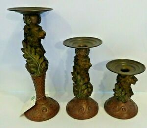 3 PC SET Metal Taper Candle Holders LION / LEAVES (12.5