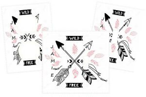 WILD & FREE BLACK PINK ARROW ART PERSONALIZED LIGHT SWITCH PLATE COVER DECOR
