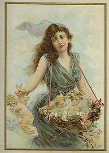 ANTIQUE 1902 ART NOUVEAU PRINT OF WOMAN AND BASKET OF CHERUBS BY EDOUARD BISSON