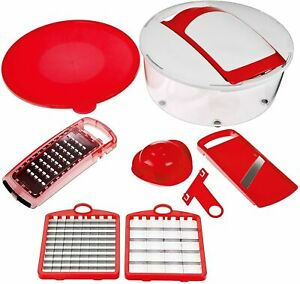 GENIUS VEGETABLE FRUIT CHOPPER DICER MANDOLIN SLICER GRATER RED SALAD PREP BOWL