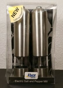 New Electric Stainless Steel Salt and Pepper Mill  Grinder Set of 2