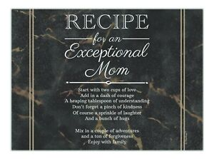 Mom Gifts Recipe for an Exceptional Mom Black Marble Print Glass Cutting Board
