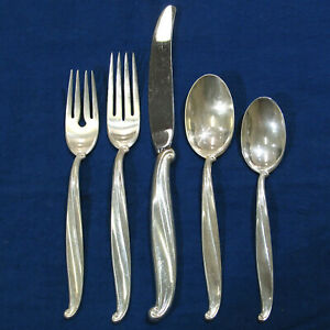 International Swan Lake 5pc Sterling Silverware Service for 12 & Serving - 75pcs