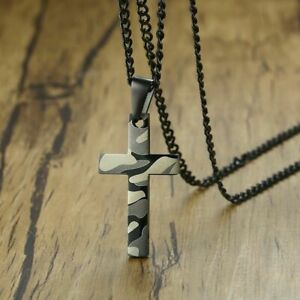 Stainless Steel Camouflage Cross Pendant Necklace Soldier Prayer Jewelry Chain