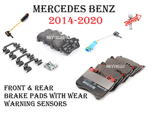 Mercedes Front & Rear Brake Pad Sets wSensors For W222 14-17 S450 S550 S560 OE