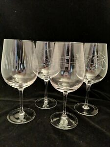 4 Large Burgundy Red Wine Glasses Different Cut Patterns