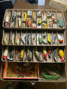 Vintage My Buddy Metal Tackle Box Full of Old Fishing Lures & such