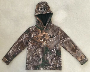 Under Armour Loose Tree Camouflage Hoodie Sweatshirt Boys Youth Small YSM $22.99