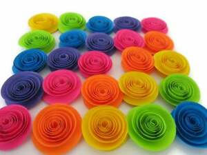 Neon Rainbow Paper Flowers Set of 24 1.5 Inch Roses 80s Theme Birthday Party