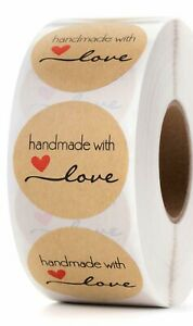 25 Handmade with love stickers 1.5quot; crafters envelope seal bake sale craft fair