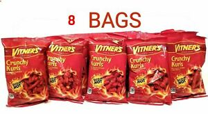 VITNER'S 8 Pack CRUNCHY KURLS SIZZLIN HOT CHEESE  A Chicago Original 1oz bags