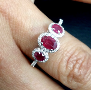Steal Deal 1.45 CTW Genuine Natural Ruby amp; Diamond Ladies Band Ring 14K Gold