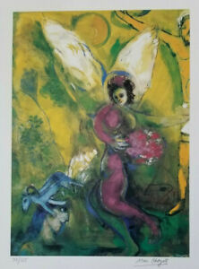 MARC CHAGALL HAND SIGNED & NUMBERED 1975 COLOURFUL PRINT + MAKE YOUR OFFER !