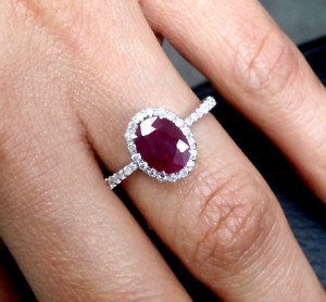 Deal 1.65 CTW Genuine Natural Ruby amp; Diamond Laides Band Ring 14K Gold