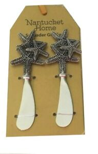 Double Starfish Cheese Spreaders Dip Butter Jelly Jam Knife set of 2 Beach House