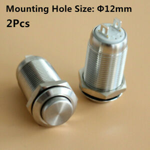 2 4 8 10Pcs 12mm Stainless Steel Waterproof Latching On OFF Push Button Switch $8.19