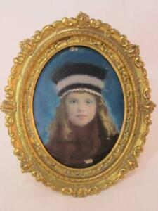 *Antique Hand Painted Photograph of Young Girl Edwardian Victorian in Frame $45.00