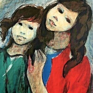 Mid Century Mother Child Abstract Portrait Arie Wachenhauser Signed Lithograph