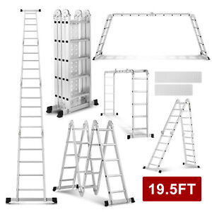 10.5/12.5/15.5/16.5/19.5FT Multi-Purpose Ladder Aluminum Extend Telescopic Tools