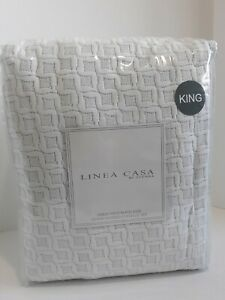 LINEA CASA BY SFERRA 3 PIECE WHITE & GREY STONEWASHED COVERLET SET MFSRP $385