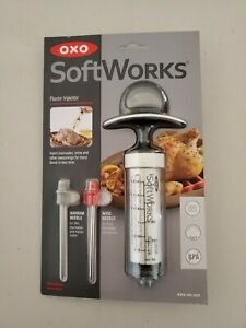 Oxo Marinade Injector Flavor Syringe 2 Needles Meat Poultry Turkey Chicken