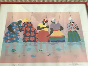 William R Cantwell Offset Lithograph of Original Serigraph Art Tropical Fish $99.99