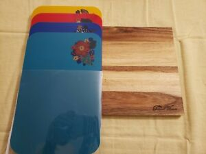 Pioneer Woman Wood Kitchen Cutting Board and 4 Cutting Mats Engraved