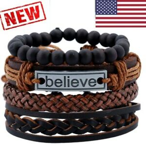 Leather Bracelet Set Black brown Tribal Cuff Wristband Men Women Bangle gothic