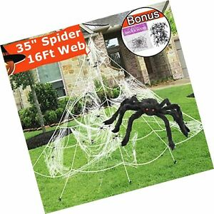CXTSMSKT Halloween Decoration Giant Funnel Spider Web with Spider Stretch Cob...