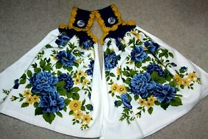C K's Double Crochet Premium Heavy Hanging Towels by Cathy K  BLUE YELLOW FLORAL