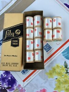 Vintage Lily Sewing Thread 12 X 60 Yards ea All Original Lily Mill Co. Box $30.00