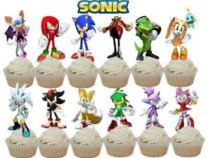 Large 24 Sonic the Hedgehog Birthday Party Kids Cupcake Cake Toppers Food Picks