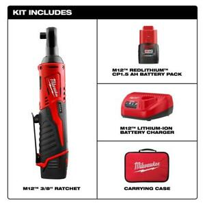 Milwaukee M12 12-V Lithium-Ion Cordless 38 in. Ratchet w Battery Charger + Bag