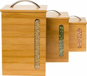 Mindful Design 3 Piece Modern Bamboo Canister Set w Handle Lid Nesting Boxes