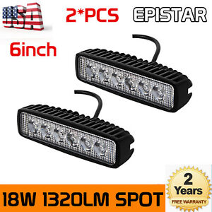 2pc 6inch 18W LED Work Light Bar 4WD Offroad Spot Pods Fog ATV SUV Driving Lamp $12.34