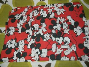 vtg 90s MICKEY MOUSE Twin Size Flat bed sheet Disney cutter fabric