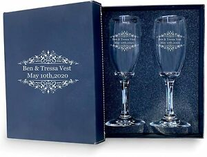 Bride & Groom Personalized set of 2 Champagne Glass with box, Flutes wedding
