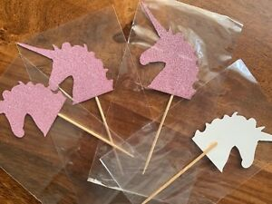 12 JOBLOT non shed glitter Unicorn Party Cake food toppers Pink picks CLEARANCE GBP 0.99