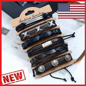 6 PIECES LEATHER BRACELET BANGLE CUFF WRIST BAND MEN WOMEN SKULL BLACK