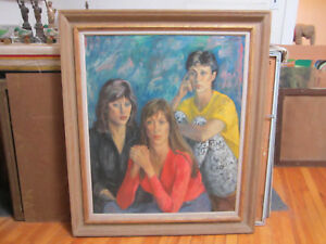 SUSAN KAHN Portrait New York Listed Artist Pretty Woman Oil Painting Signed $575.00
