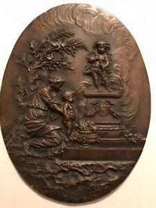 Antique Bronze Oval Embossed Relief Mother Child Neoclassical Empire Plaque $125.00