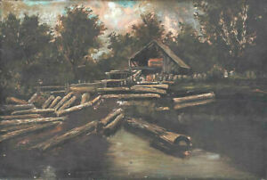 Antique Painting Oil on Canvas quot;Logging Campquot; American 1800s Handsome $469.88